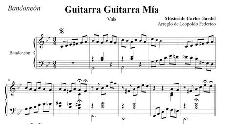 Guitarra Guitarra Mía (arr. Leopoldo Federico) - bandoneón solo