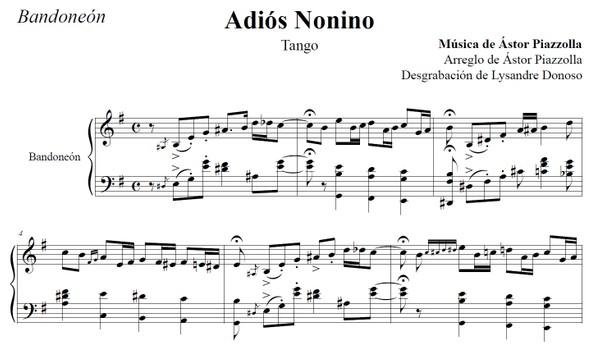 Adiós Nonino - (arr. Astor Piazzolla) - bandoneón solo