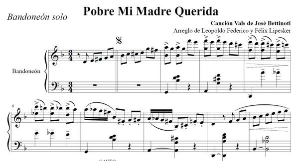 Pobre Mi Madre Querida (arr. Leopoldo Federico) - bandoneón solo