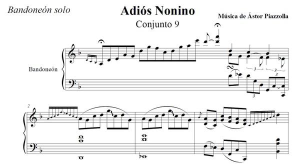 Adiós Nonino (cadencia) (arr. Astor Piazzolla) - bandoneón solo