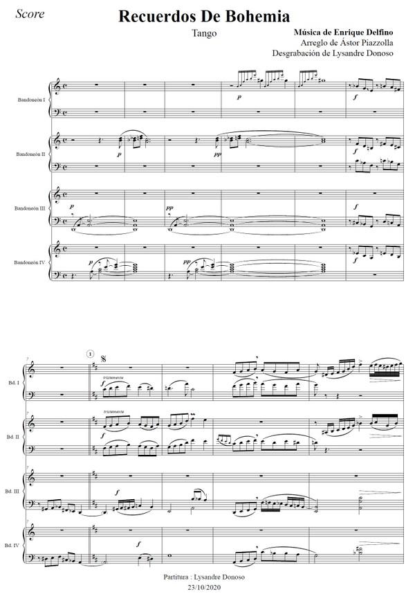 Recuerdos De Bohemia (arr. Astor Piazzolla) - 4 bandoneones