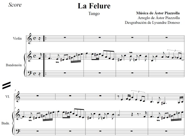 La Felure (arr. Astor Piazzolla) - bandoneón & violín