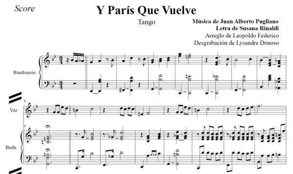 Y París Que Vuelve (arr. Leopoldo Federico) - dúo bandoneón & voz