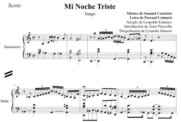 Mi Noche Triste (arr. Leopoldo Federico) - dúo bandoneón & voz