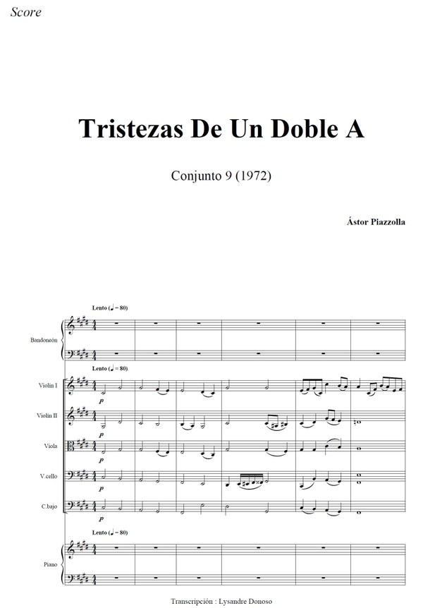 Tristezas De Un Doble A - Conjunto 9 de Astor Piazzolla