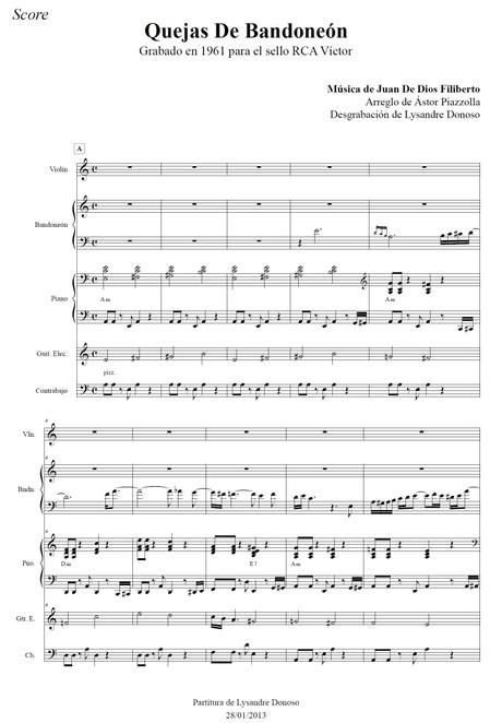 Quejas De Bandoneón - quinteto de Astor Piazzolla