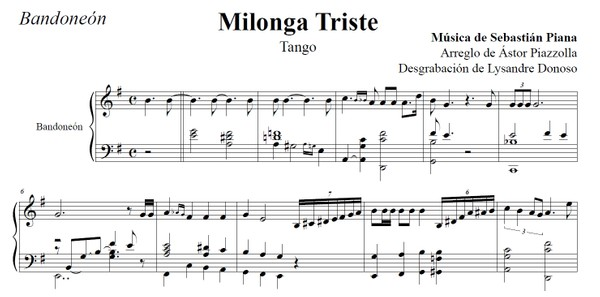 Milonga Triste (arr. Astor Piazzolla) - bandoneón solo