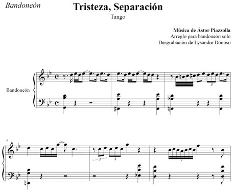 Tristeza, Separación (arr. Astor Piazzolla) - bandoneón solo