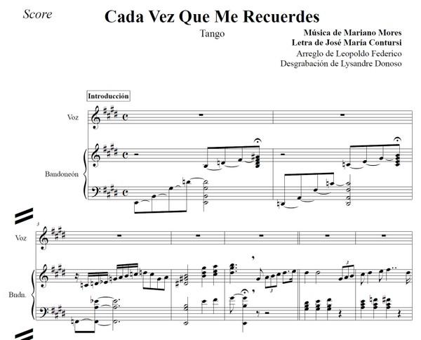 Cada Vez Que Me Recuerdes (arr. Leopoldo Federico) - dúo bandoneón & voz