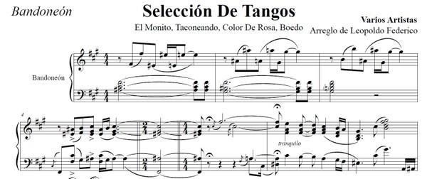 Selección De Tangos (arr. Leopoldo Federico) - bandoneón solo