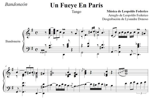 Un Fueye En París (arr. Leopoldo Federico) - bandoneón solo