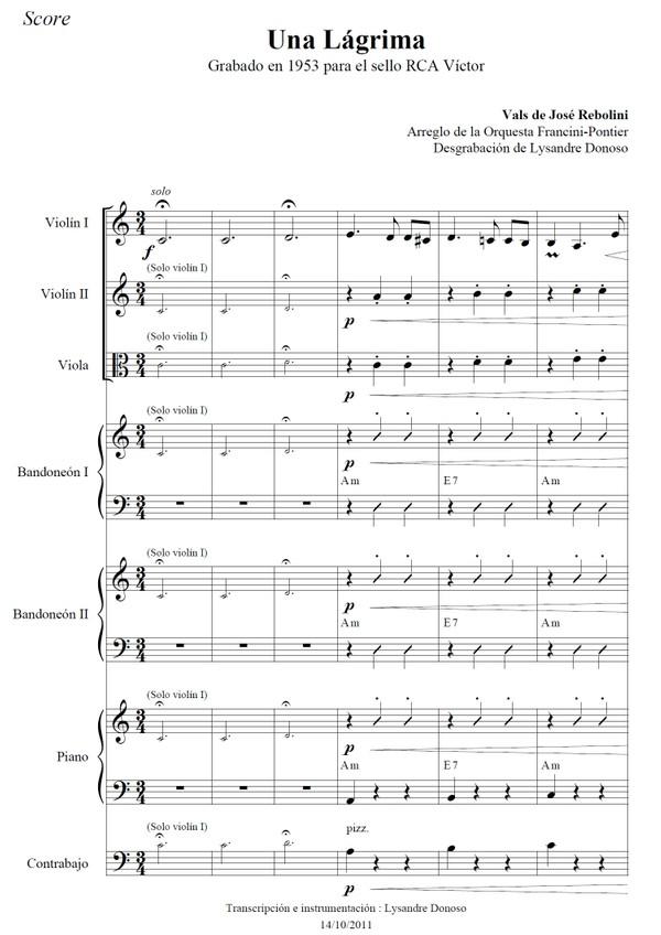 Una Lágrima - orquesta típica de Francini-Pontier