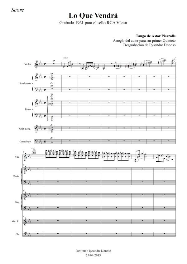 Lo Que Vendrá - quinteto de Astor Piazzolla