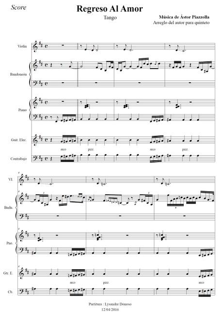 Regreso Al Amor  - quinteto de Astor Piazzolla