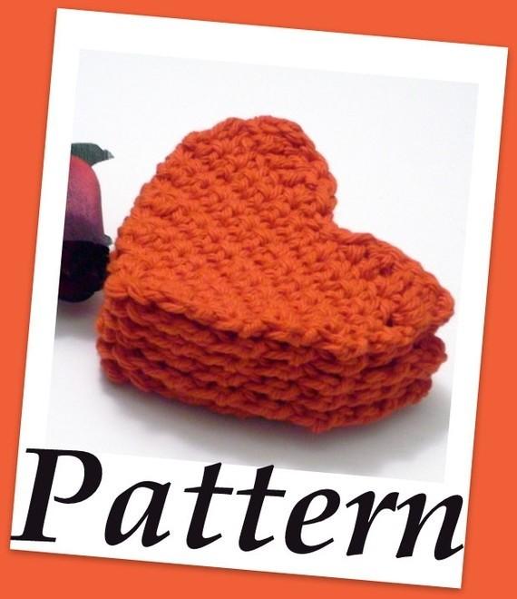Crochet Pattern Heart Shaped Scrubbies Pdf File