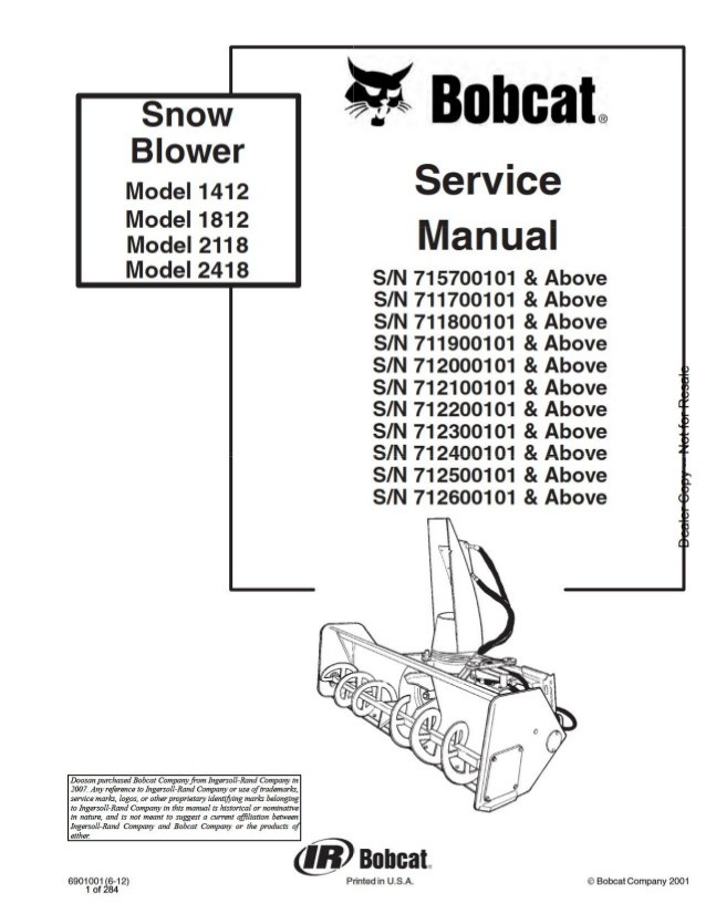 Download Bobcat 1412, 1812, 2118, 2418 Snowblower Work