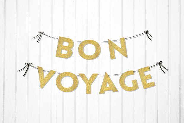 bon voyage instant download printable garland faux glittery textured in gold
