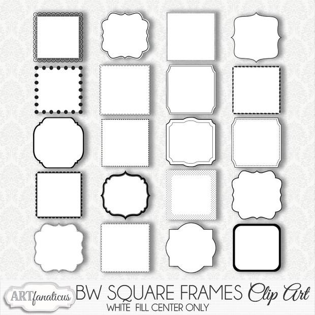 BLACK & WHITE SQUARE FRAMES CLIPART - Artfanaticus