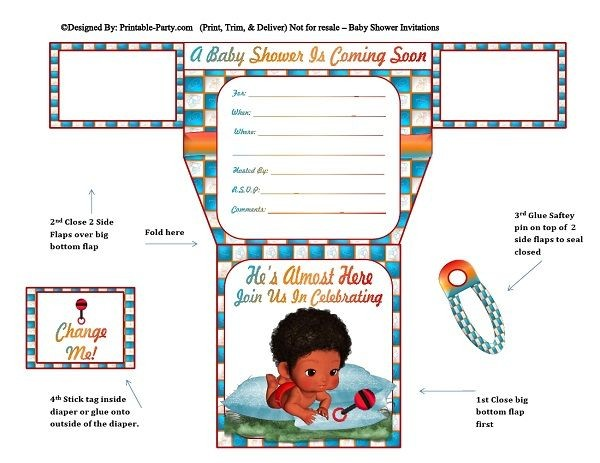 african-american-blue-squares-diaper-boy-baby-shower-invitations