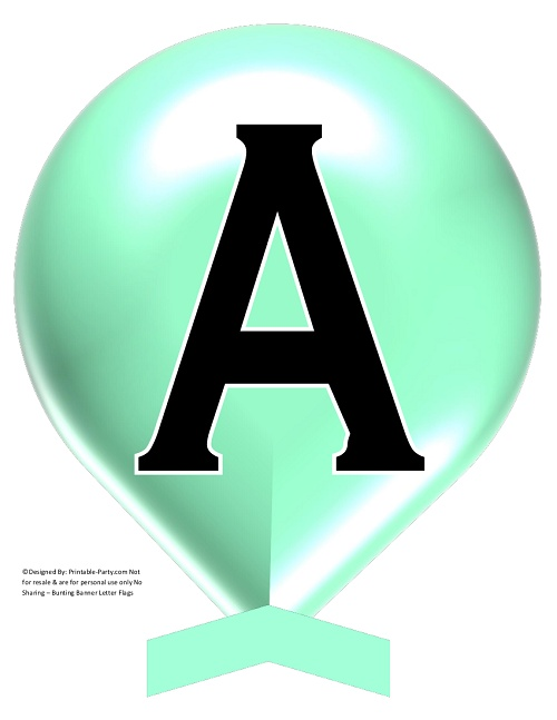 photograph relating to Printable Letters for Banner named Higher-MINT-Inexperienced-BALLOON-PRINTABLE-BANNER-LETTERS-A-Z-0-9