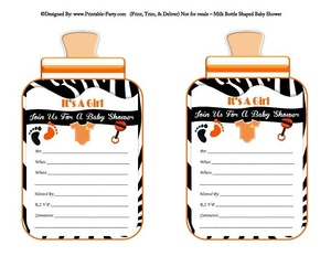 printable-black-orange-zebra-feet-girl-baby-bottle-shaped-baby-shower-invitations