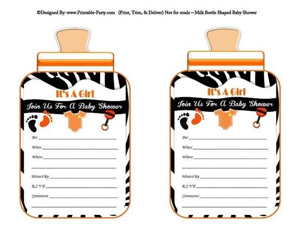 printable-black-orange-zebra-feet-girl-baby-bottle-shaped-baby-shower-invitations