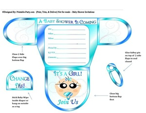 Ocean Blue Vanilla Girl Diaper Baby Shower Invite