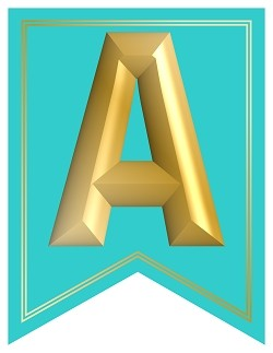 SWALLOWTAIL-PRINTABLE-ALPHABET-BANNER-LETTERS-TEAL-GOLD