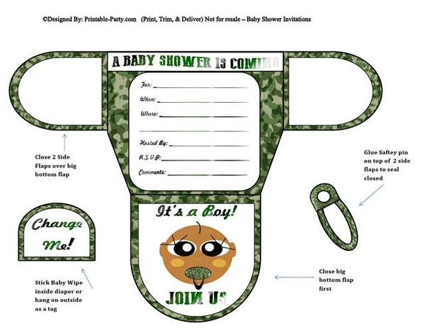 Army Chocolate Boy Diaper Baby Shower Invites