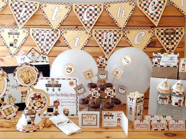 Kitchen Time Vanilla Character Printable Birthday Party Supplies