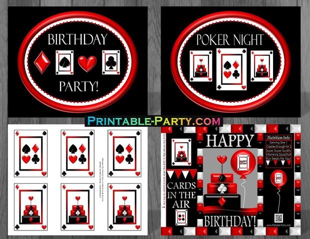 Casino Night Poker Card Printable Birthday Party Supplies