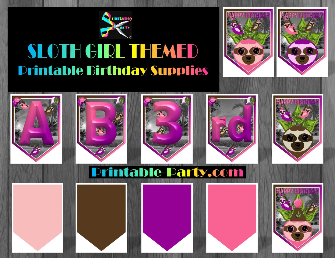 graphic regarding Printable Birthday Decorations named sloth-lady-themed-printable-birthday-get together-resources