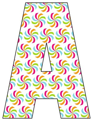 8X10.5  Inch Rainbow Candy Printable Letters A-Z, 0-9