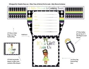 black-white-polka-dots-frog-princess-diaper-girl-printable-baby-shower-invitation