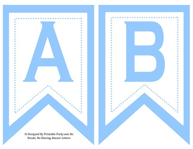 5 Inch Printable Light Blue Swallowtail Banner Letters 0-9, A-Z