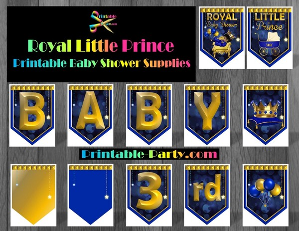 Royal Little Prince Printable Baby Shower Supplies