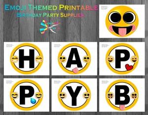 Emoji Yellow Printable Banner Letters