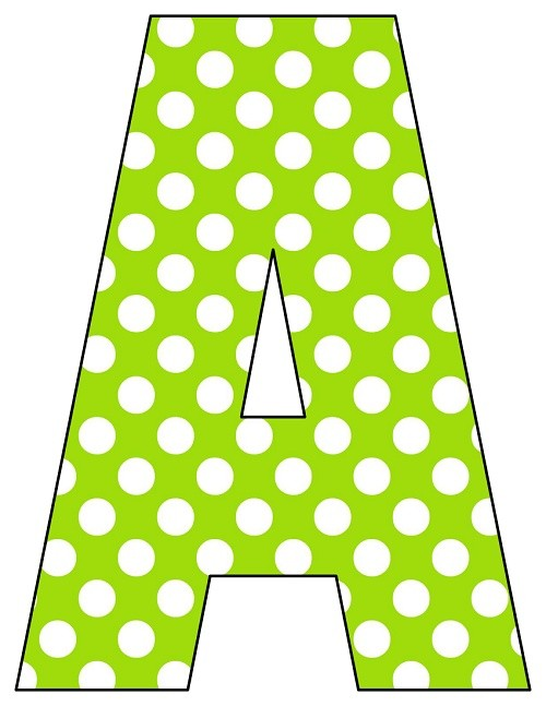 8X10.5  Inch Lime Green Polka Dot Printable Letters A-Z, 0-9