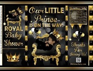 POTATO-chip-treat-favor-bags-royal-PRINCE-BABY-SHOWERblackgold