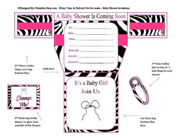 Pink black zebra diaper girl printable baby shower inv pink black zebra diaper girl printable baby shower filmwisefo