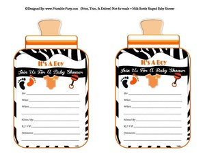printable-black-orange-zebra-feet-boy-baby-bottle-shaped-baby-shower-invitations