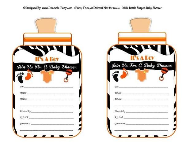 printable-black-orange-zebra-feet-boy-baby-bottle-shaped-baby-shower-invitations