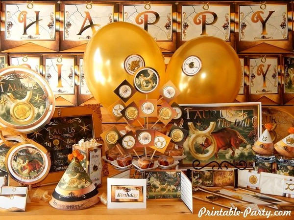 Taurus Printable Zodiac Sign Themed Party Supplies