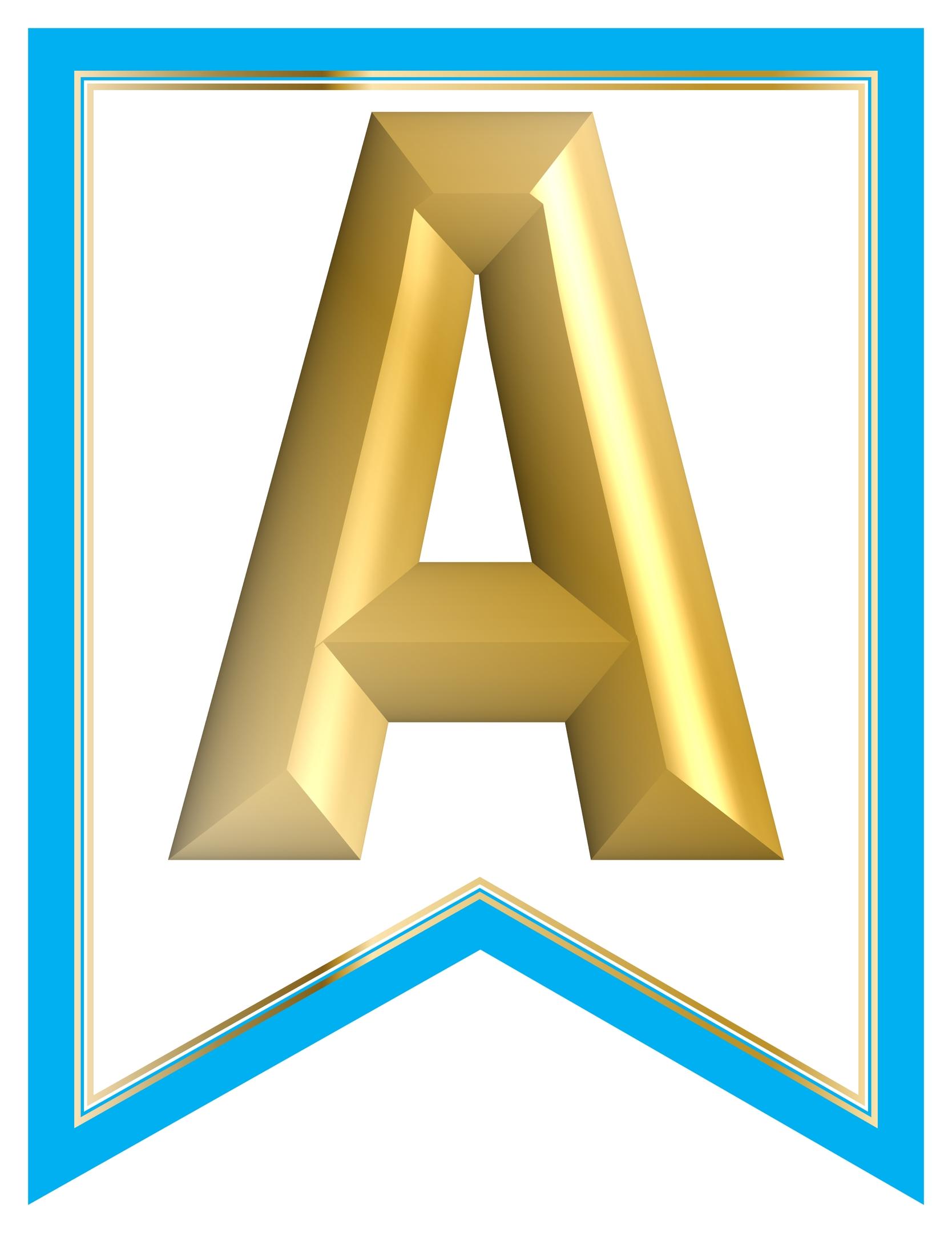 image regarding Printable Alphabet Banner known as SWALLOWTAIL-PRINTABLE-ALPHABET-BANNER-LETTERS-blue-white-GOLD