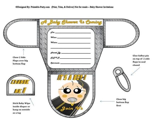 Racer Vanilla Boy Baby Diaper Shower Invites