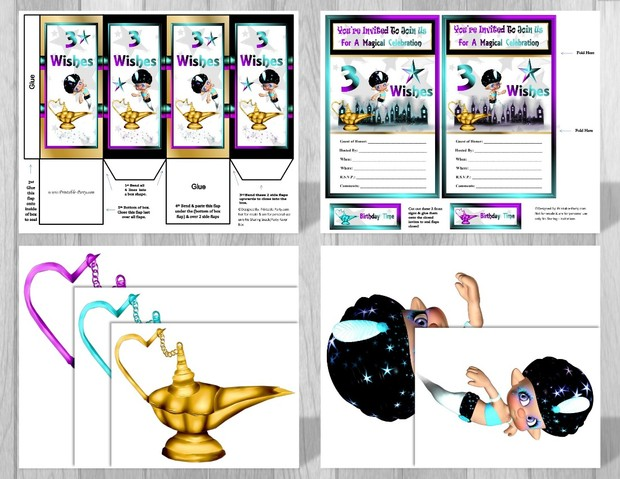 3 Wishes Genie Printable Party Supplies