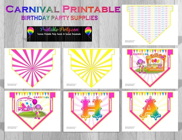 Printable Carnival Party Supplies Pink Clown