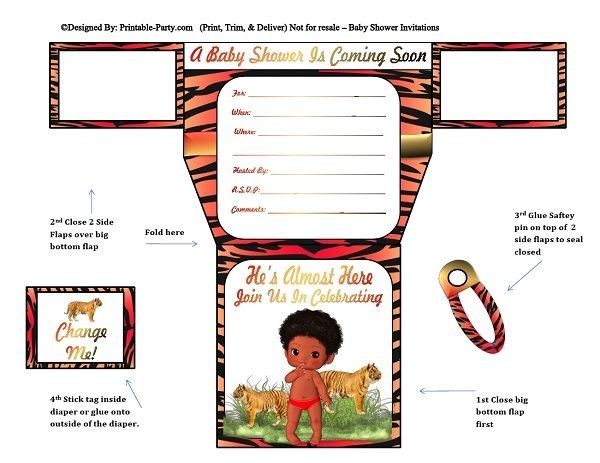 african-american-red-black-tiger-diaper-boy-baby-shower-invitations