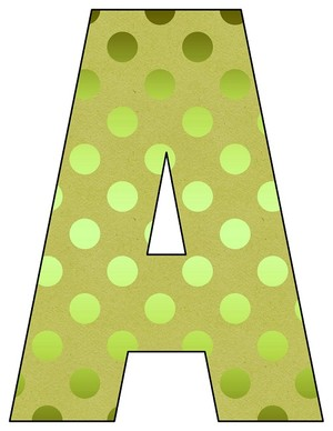 8X10.5  Inch Green Foil Dots Printable Letters A-Z, 0-9