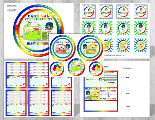 Printable Carnival Theme Party Decorations Blue Clown